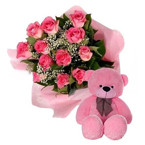 Fashionable Pink Roses Bouquet and Teddy Bear with Pure Passion