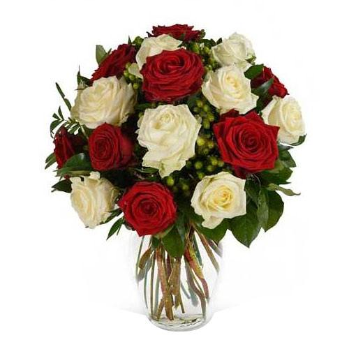 Blossoming Truly in Love Red and White Roses with Vase