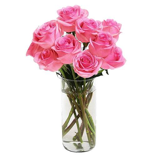 Gorgeous Flame of Love Pink Roses in Vase