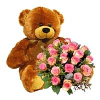 Passionate Feel of Love Teddy Bear and Roses
