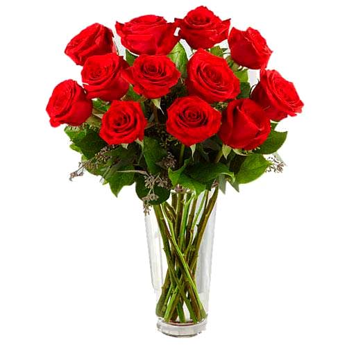 Stimulating Love Red Roses with Vase