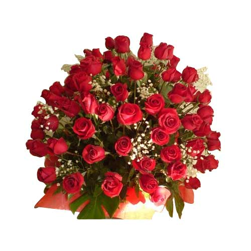 Radiant Moments in Love 50 Red Roses with Basket