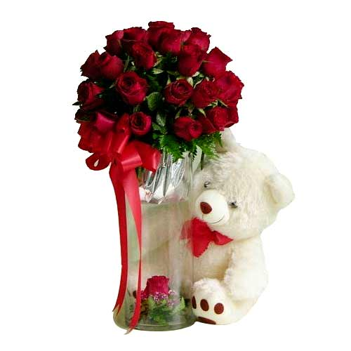 Gorgeous Red Roses and Teddy Bear for Perfect Romance