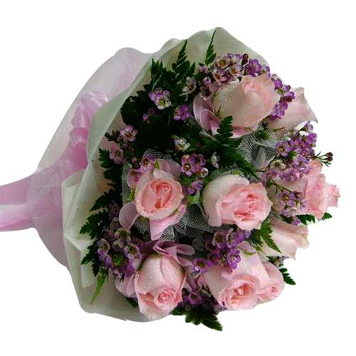 Sweetest Pink Roses Bouquet with Warm Wishes