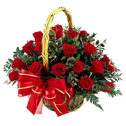 Tropical 16 Red Roses Basket
