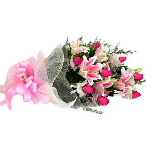 Festive Composition of Pink Roses with Lilies