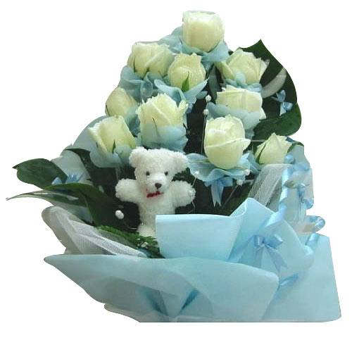 Impressive Small Bear with Twelve White Roses Bouquet