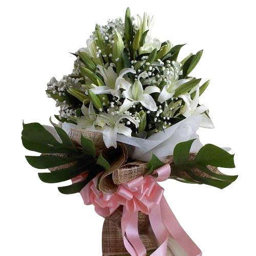 Delightful Bunch of Ten White Lilies
