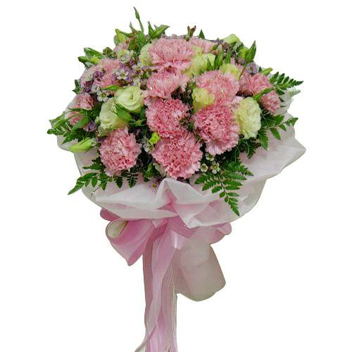 Ornamental Bouquet of White and Pink Carnations