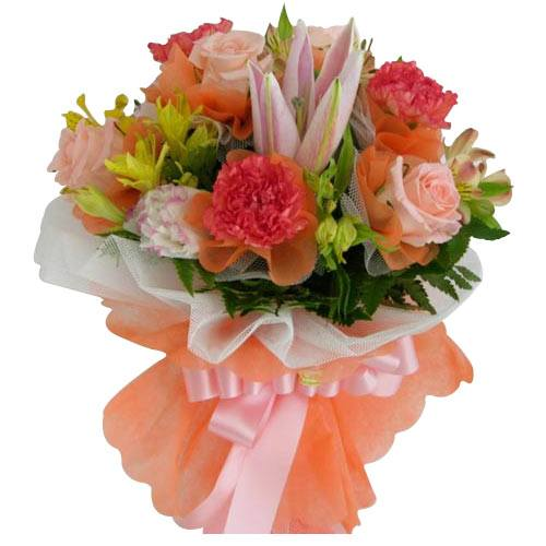 Aromatic Collection of Pink Carnation, Rose and Lily