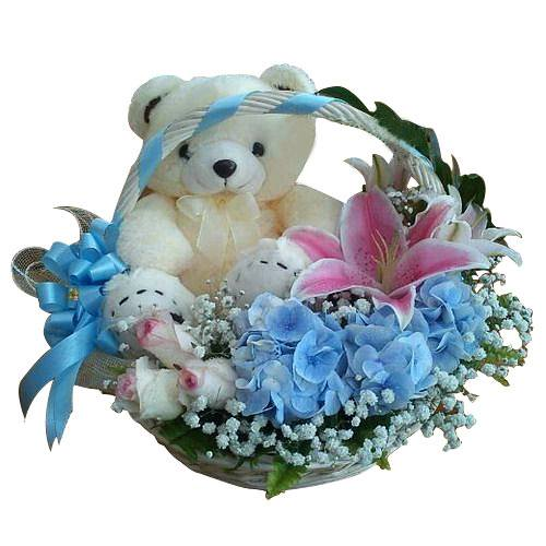 Petite Celebration Bouquet of Mix Flowers with Soft Teddy
