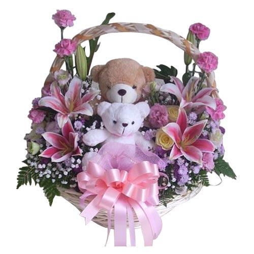 Heavenly Selection of Flowers with 2 Teddy with Lots of Wishes