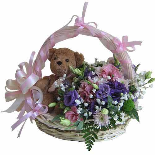 Luxurious Assemble of Mixed Flowers and Lovable Teddy