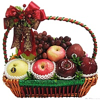 Herbaceous Holiday Magic Basket of Fruits