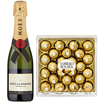 Charming Pairing of 1 Bottle of Moet Chandon Champagne and 1 Ferrero Rocher Chocolate Box