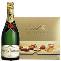 Innovative Present of Traditional Swiss Lindt Chocolate and Moet Chandon Champagne