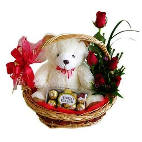 Rose with Teddy and Chocolate<br>(for Bangkok only)