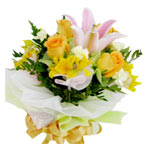 Yellow rose and pink lily Bouquet<br>(for Bangkok only)