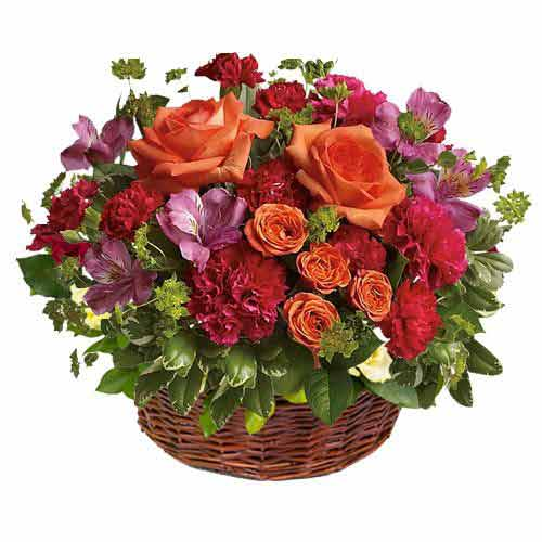 Mixture & colourful flowers in basket<br>(for Bangkok only)