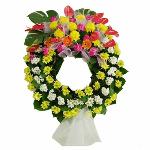 Fresh flower wreath. For condole<br>(for Bangkok only)